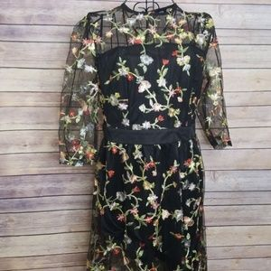 NWOT Shein L embroidered floral lace mesh dress